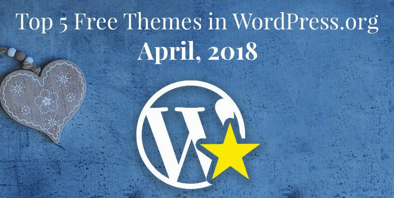 Top 5 free themes in WordPress.org—April 2018