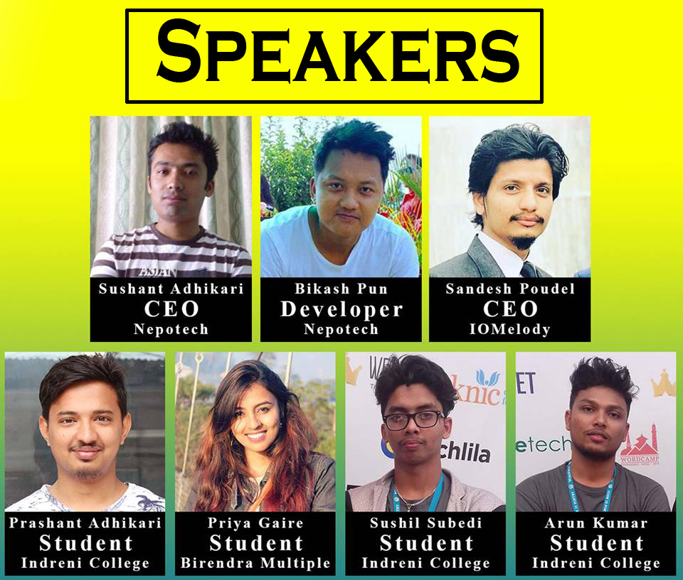 Speakers for WordPress Chitwan June Meetup 2018