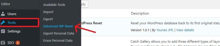 Tools - Advanced wp reset