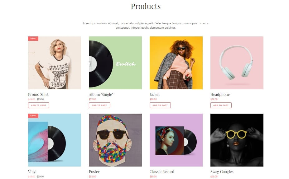 Products Section in My Music Band - eCommerce Layout
