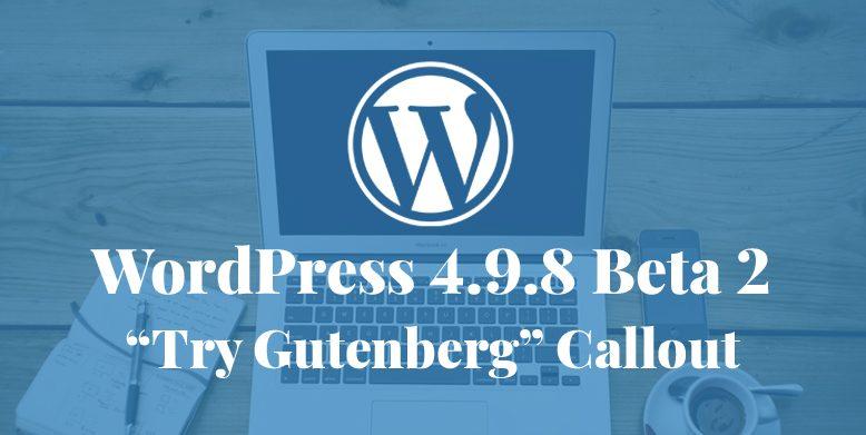 WordPress 4.9.8 Beta 2 Released