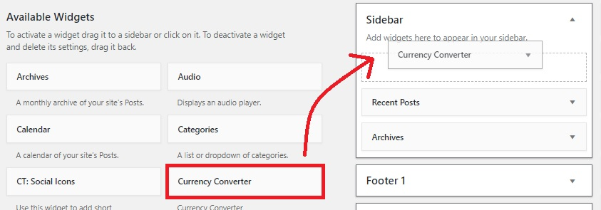 drag and drop the currency converter in sidebar