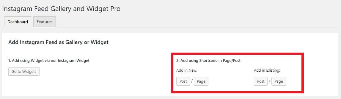 Add instagram feed using shortcode