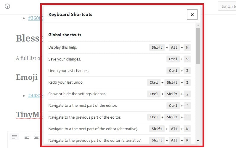 Keyboard Shortcuts in Gutenberg 3.6