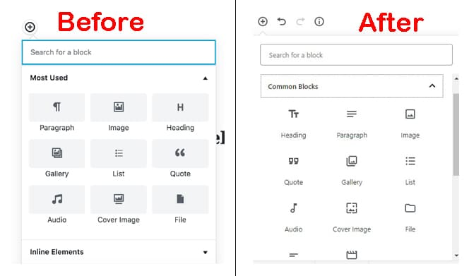 New icons introduced in Gutenberg 3.6