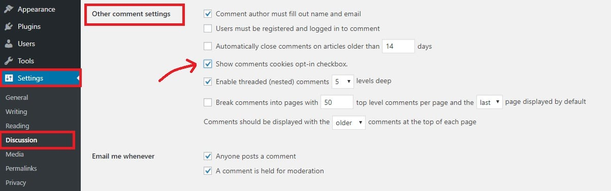 checkmark the show comments cookies opt-in checkbox