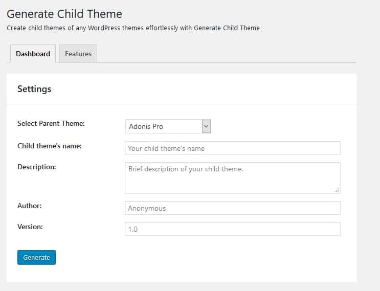 Generate Child Theme Settings page
