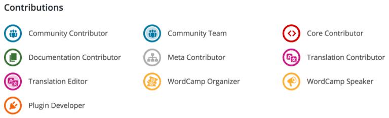 WordPress Contribution Badges. Credit: WP Tavern