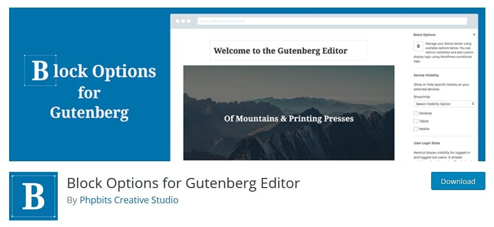 Block Options for Gutenberg Editor Plugin