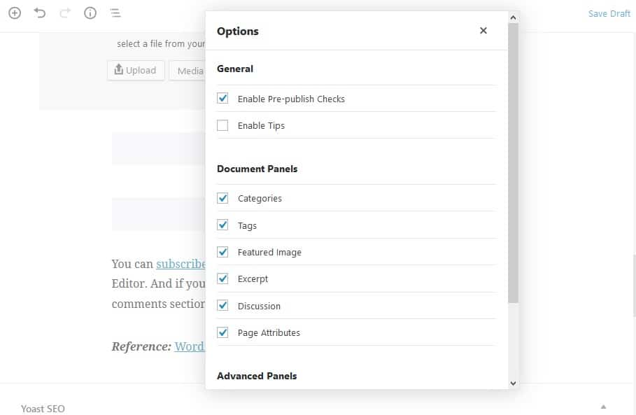 New 'options' modal added