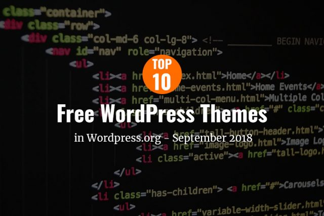 Top 10 free themes in WordPress.org—September 2018