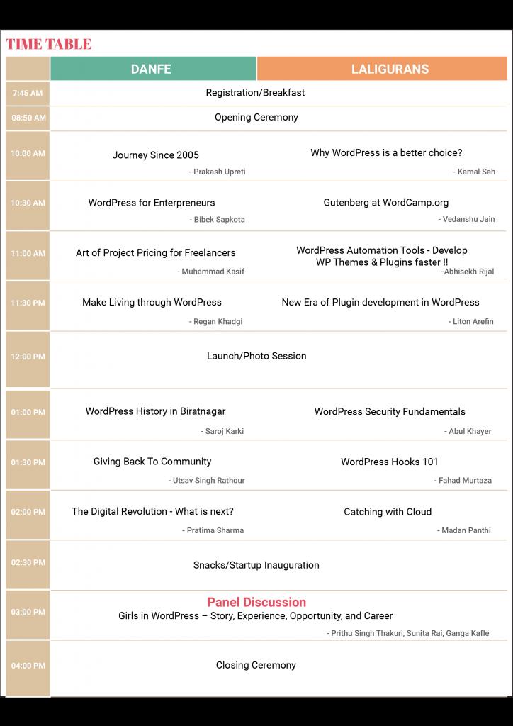WordCamp Biratnagar 2018 Schedule