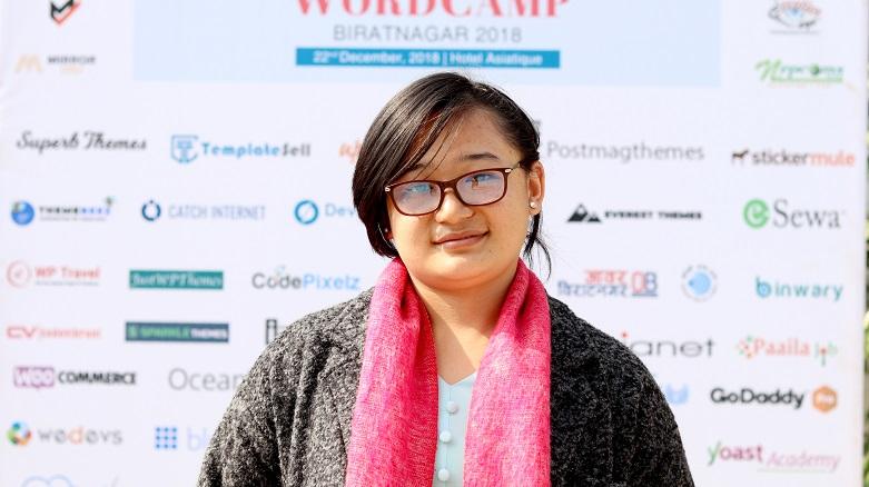 Sunita Rai at WordCamp Biratnagar 2018.