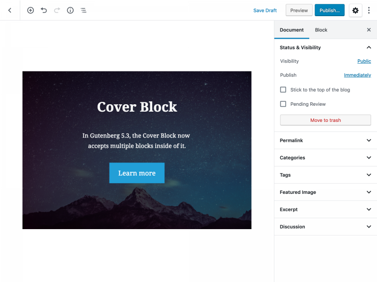 Support nested blocks in Cover Image