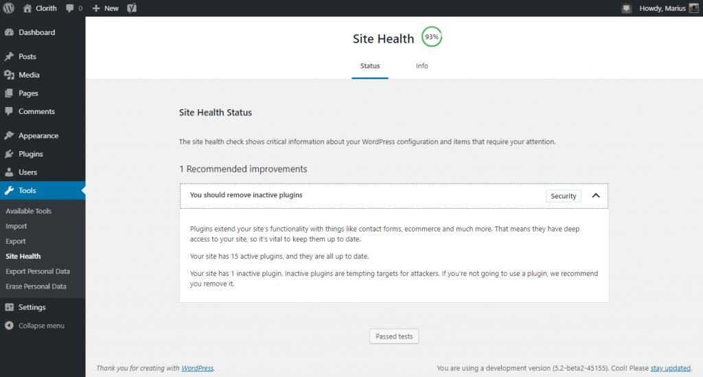 Site Health Status