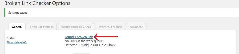 Broken Links result