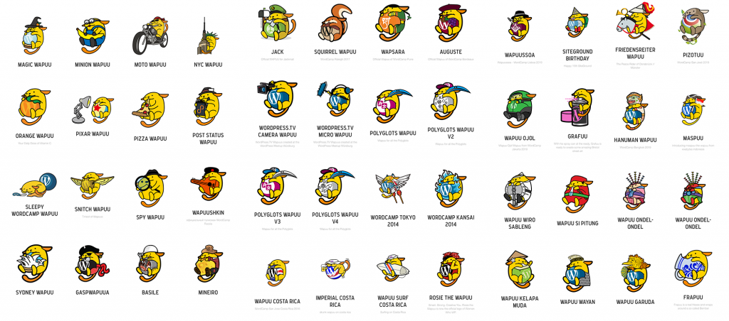 Different Wapuu designs
