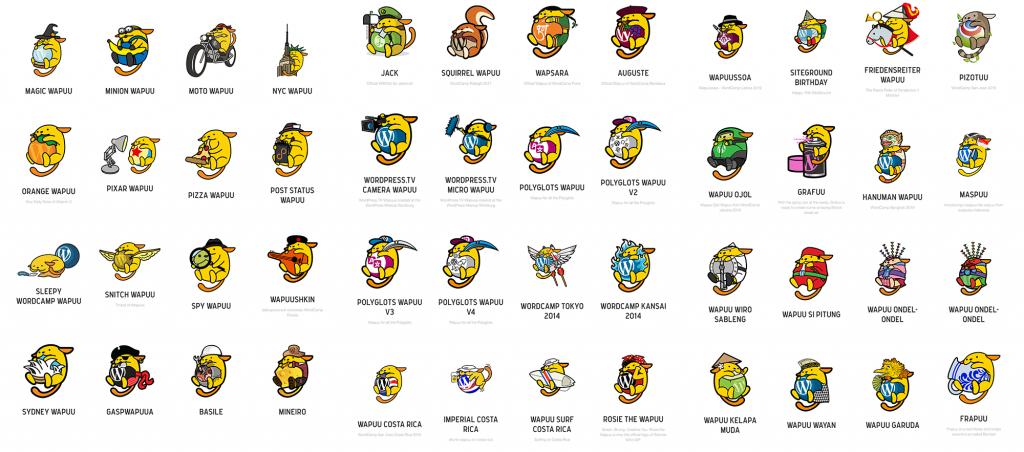 Different Wapuu designs