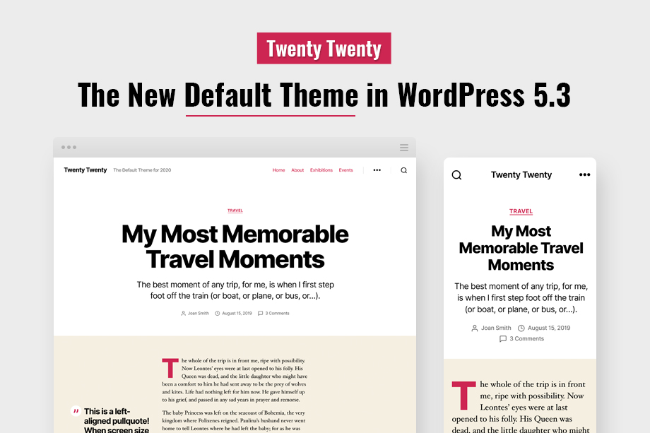 The new default WordPress theme - Twenty Twenty