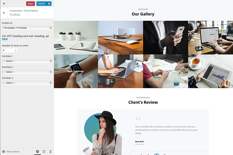 Portfolio Section in Intuitive - A corporate free WordPress theme