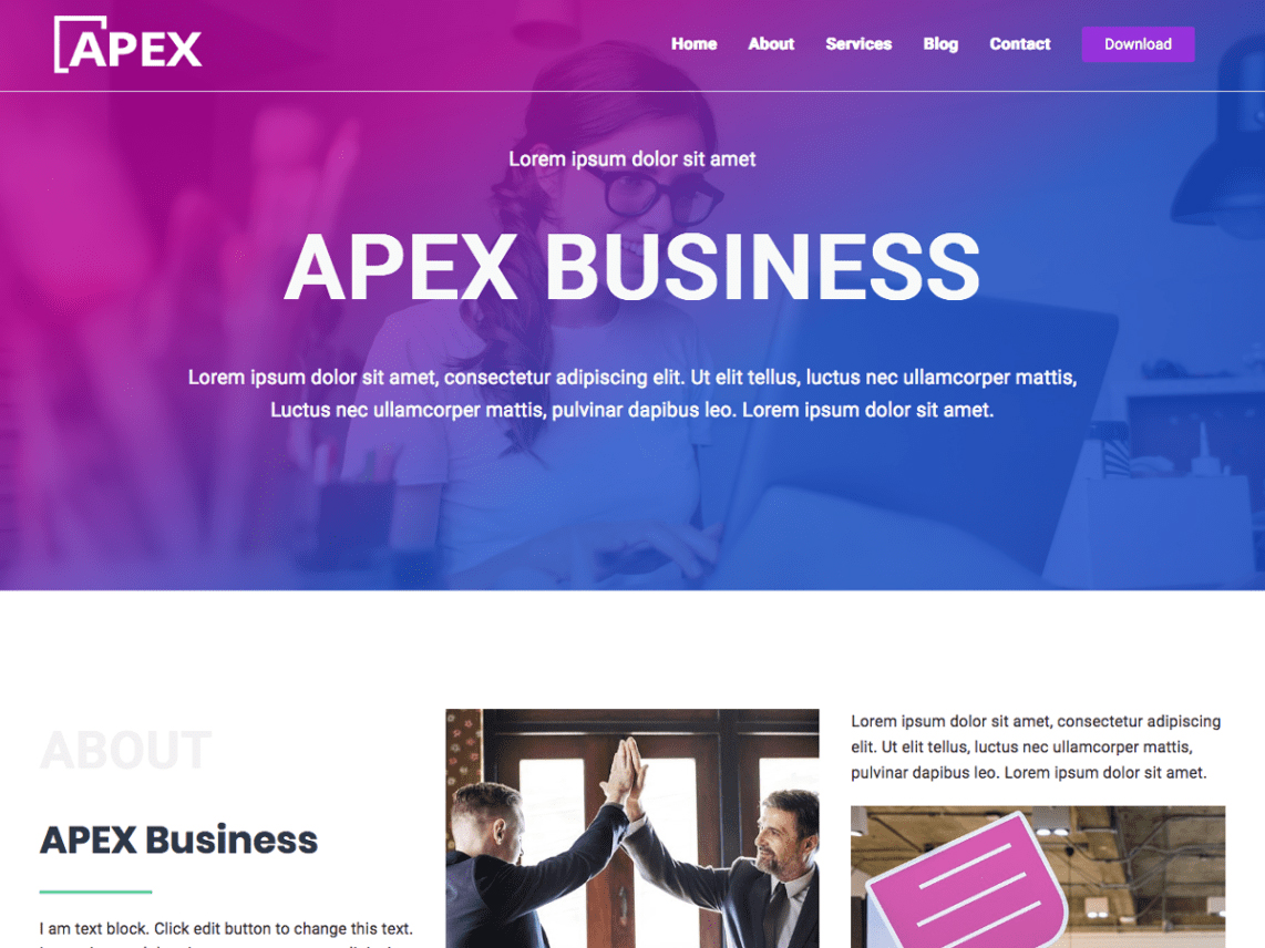 Apex Business - Grip - 10 Best Free WordPress themes of January 2020
