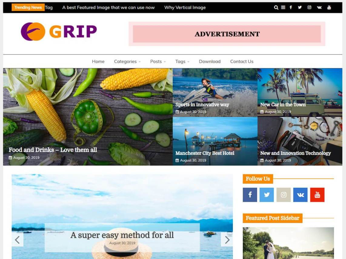 Grip - 10 Best Free WordPress themes of January 2020