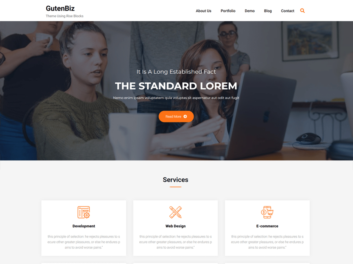 Gutenbiz -Grip - 10 Best Free WordPress themes of January 2020