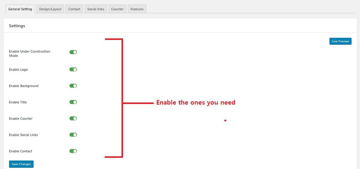General settings page - display maintenance mode page in wordpress