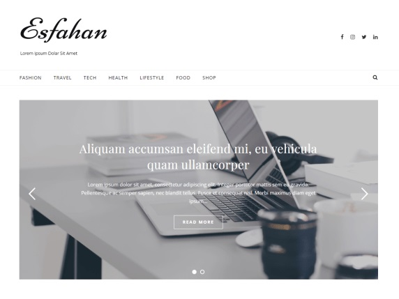 Esfahan - Best Free WordPress Themes - March 2020