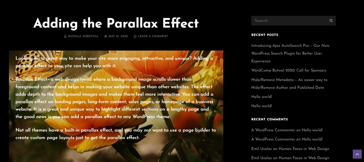 How to Add Parallax Effect on your site (For Gutenberg Editor users)