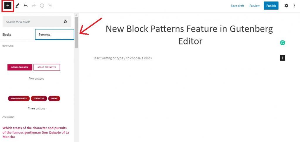 Block Patterns Feature in Gutenberg Editor