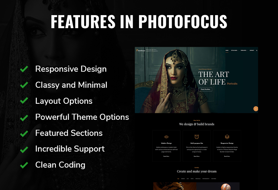Features in PhotoFocus, the best photography WordPress theme