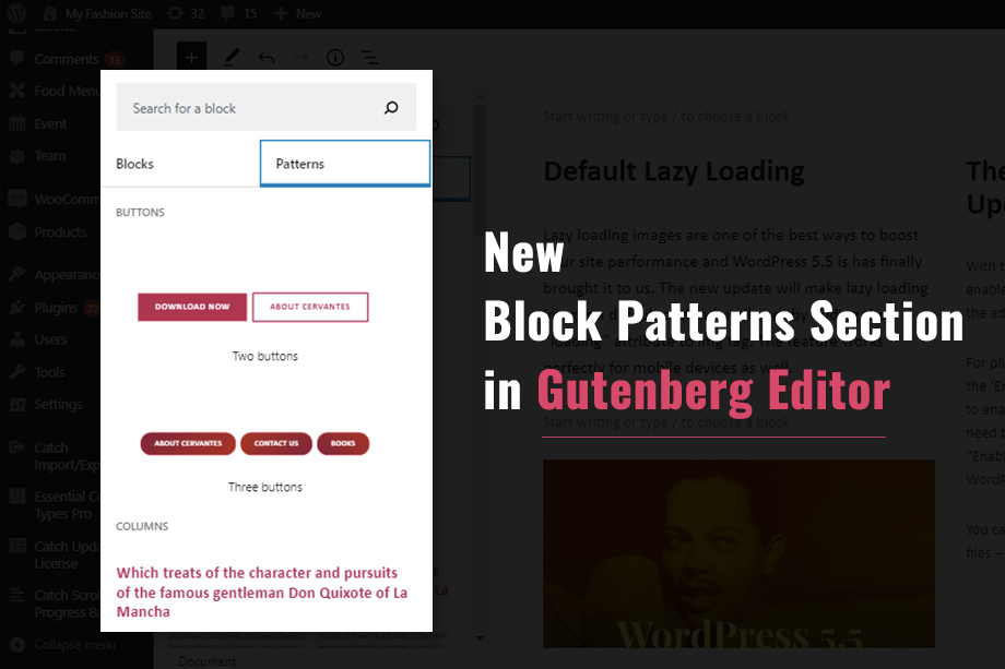 New Block Patterns feature in Gutenberg Editor