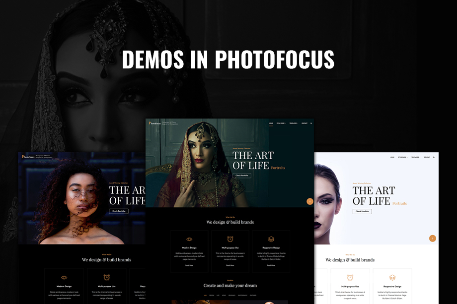 Demos in PhotoFocus, best photography WordPress theme