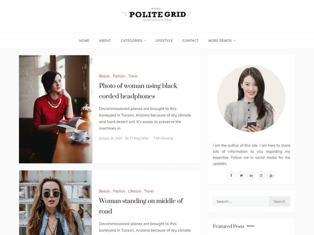 polite grid -10 Best Free WordPress Themes of August 2020