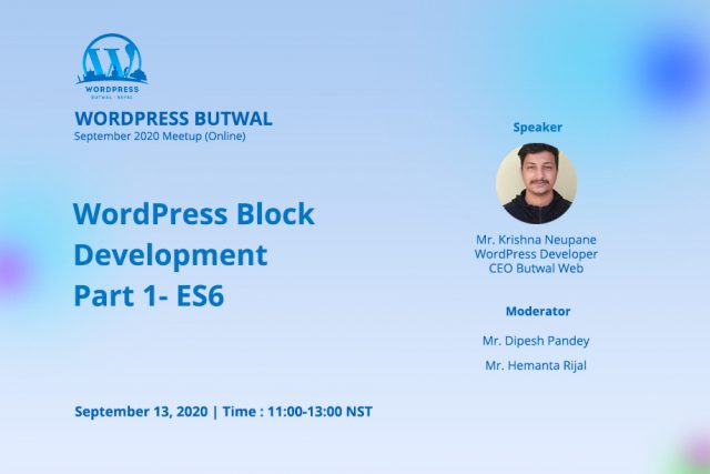 WordPress Butwal September Meetup 2020 ONLINE