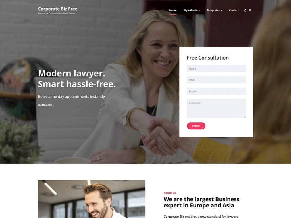 Corporate Biz - Best Free WordPress Themes September 2020