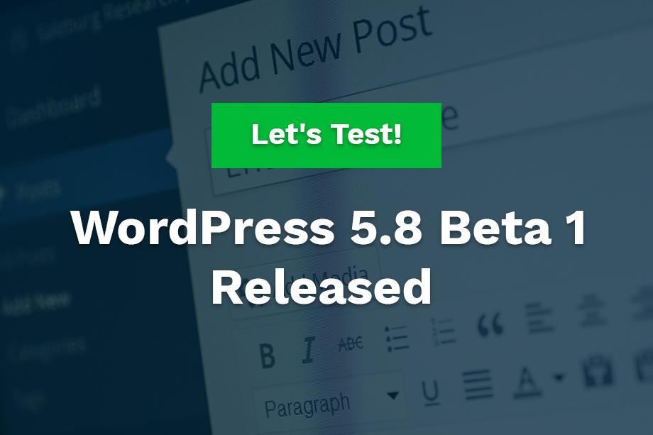 WordPress 5.8 Beta 1