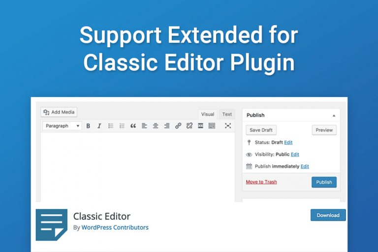 Support Extended for Classic Editor Plugin